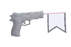 Het pistool van de krant met vlag die op wit wordt geïsoleerde Royalty-vrije Stock Foto's