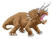 Het Pixel Art Arcade Game Cartoon van dinosaurustriceratops vector illustratie