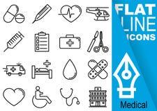 Het pixel van de Editableslag 70x70 Eenvoudige Reeks medische zestien vlakke lijnpictogrammen met verticale blauwe banner - pil,  Stock Afbeeldingen