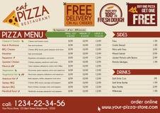 Het pizzarestaurant haalt menu weg Stock Foto