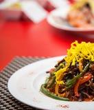 Het plaatvoedsel restaurantclose bekijkt omhoog schot Royalty-vrije Stock Foto's