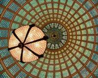 Het plafond van de het glaskoepel van Tiffany Stock Fotografie
