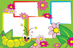 Het plakboek van het jonge geitje - Rups en bloemen Royalty-vrije Stock Afbeeldingen
