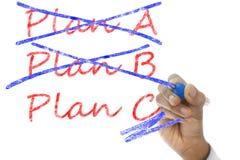 Het plan gekruiste A en B, Plan C neemt over Stock Afbeelding