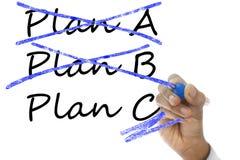 Het plan gekruiste A en B, Plan C neemt over plan A & B Royalty-vrije Stock Afbeeldingen