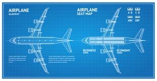 Het Plan Hoogste Mening van de vliegtuigblauwdruk Vector stock illustratie
