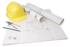 Het plan van de architect Stock Afbeelding