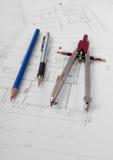 Het plan van de architect Royalty-vrije Stock Afbeeldingen