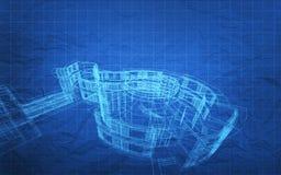 Het Plan van de blauwdrukbouw Royalty-vrije Stock Afbeeldingen