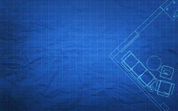 Het Plan van de blauwdrukbouw Stock Foto