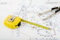 Het plan van de bouw Stock Foto's
