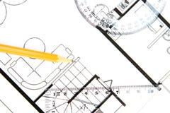 Het plan van de bouw royalty-vrije stock afbeeldingen