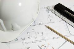 Het plan van de bouw van een huis Royalty-vrije Stock Foto