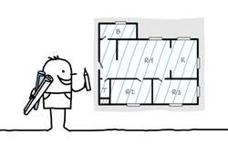Het plan van de de tekeningsflat van de architect Stock Afbeeldingen