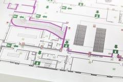 Het plan van de evacuatie Stock Afbeeldingen
