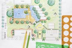 Het plan van de het hoteltoevlucht van Design van de landschapsarchitect royalty-vrije stock fotografie