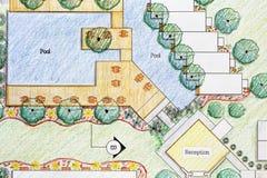 Het plan van de het hoteltoevlucht van Design van de landschapsarchitect royalty-vrije stock afbeeldingen