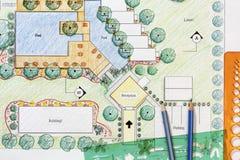 Het plan van de het hoteltoevlucht van Design van de landschapsarchitect stock afbeeldingen