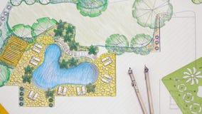 Het plan van de het ontwerpbinnenplaats van de landschapsarchitect stock video