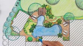 Het plan van de het ontwerpbinnenplaats van de landschapsarchitect voor villa stock video
