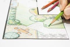 Het plan van de het ontwerptuin van de landschapsarchitect Stock Foto's