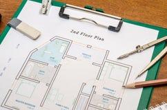 Het plan van de huisvloer met tekeningskompas Royalty-vrije Stock Fotografie