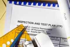 Het plan van de inspectie en van de test stock afbeeldingen