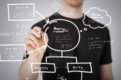 Het plan van de mensentekening op het virtuele scherm Stock Foto