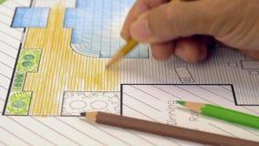 Het plan van de het ontwerpbinnenplaats van de landschapsarchitect stock videobeelden