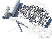 Het plan van de vloer en één of andere blauwdruk Royalty-vrije Stock Foto's