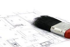 Het Plan van de vloer en de Borstel van de Verf Stock Fotografie