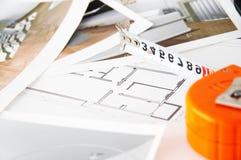Het plan van de vloer voor een nieuw huis Royalty-vrije Stock Afbeeldingen