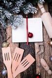 Het plan van het Kerstmismenu Achtergrond voor het schrijven van het Kerstmismenu Hoogste mening Royalty-vrije Stock Foto's