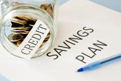 Het plan van kredietbesparingen Royalty-vrije Stock Foto's