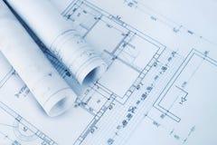 Het planblauwdrukken van de bouw Royalty-vrije Stock Afbeelding