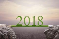 Het planconcept van de bedrijfssuccesstrategie, Gelukkige nieuwe jaar 2018 cale Royalty-vrije Stock Foto's