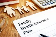 Het Planconcept van de familieziektekostenverzekering royalty-vrije stock foto's