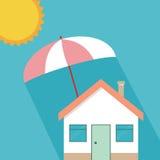 Het planconcept van de huisbescherming Vectorillustratie in vlak ontwerp Royalty-vrije Stock Foto