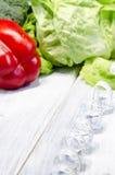 Het plantaardige hoogtepunt van het vermageringsdieet gezonde voedsel van vitaminen Stock Foto's