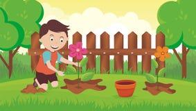 Het planten van bloem in de tuin vector illustratie