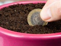 Het planten van een muntstuk dat investering vertegenwoordigt Royalty-vrije Stock Fotografie
