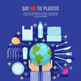 Het plastic concept van de huisvuilverontreiniging Zeg Nr aan plastic vlakke illustratie Ecologie en milieuprobleembanner, affich royalty-vrije illustratie