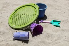 Het plastic Speelgoed van het Strandzand Royalty-vrije Stock Foto