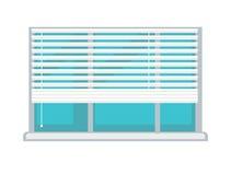 Het plastic venster met witte helft-mast verblindt geïsoleerde illustratie Royalty-vrije Stock Fotografie