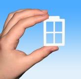 Het plastic venster ter beschikking. Stock Fotografie