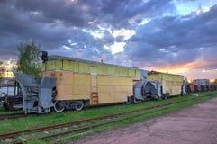 Het platform van de ladingstrein met container Royalty-vrije Stock Fotografie