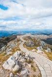 Het platform van het gezichtspunt op Lovcen berg, Montenegro Stock Foto's