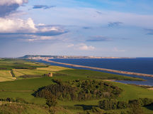 Het platteland die van Dorset Portland en de Vloot overzien stock fotografie