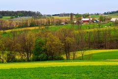Het platteland en de landbouwbedrijven van Pennsylvania in de lente dichtbij Kutztown Gebieden die enkel beginnen worden geploegd stock foto