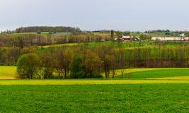 Het platteland en de landbouwbedrijven van Pennsylvania in de lente dichtbij Kutztown Gebieden die enkel beginnen worden geploegd royalty-vrije stock afbeeldingen